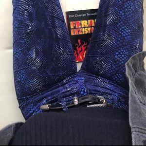 Blue Snakeskin Print Pants Midrise SZ 26